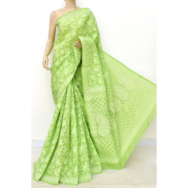 Cotton Lucknowi Chikankari Saree (LCK4730)