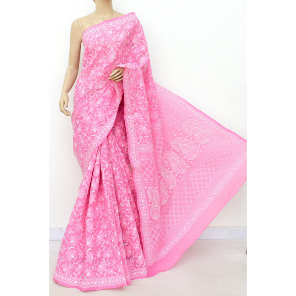 Cotton Lucknowi Chikankari Saree with Allover Jaal (LCK4731)