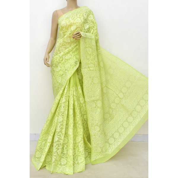 Cotton Lucknowi Chikankari Saree (LCK4736)