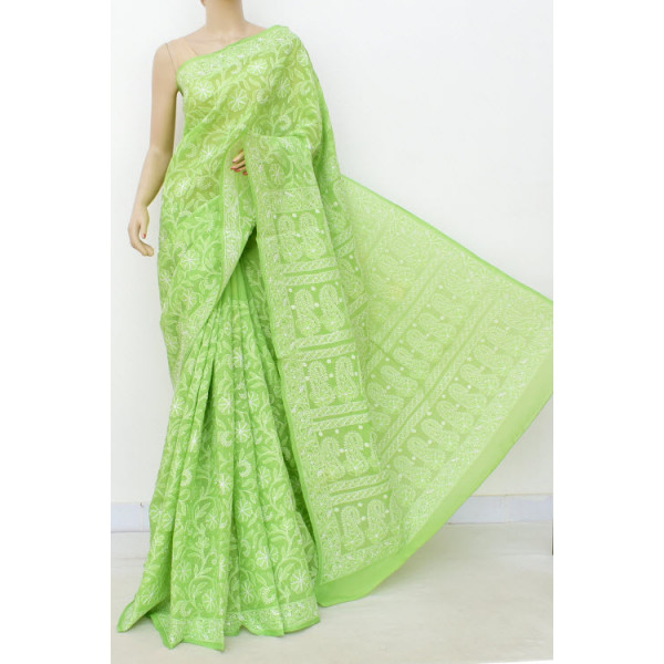 Cotton Lucknowi Chikankari Saree with Allover Jaal (LCK4740)