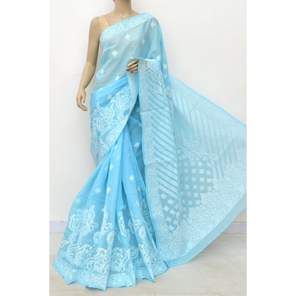 Cotton Lucknowi Chikankari Saree (LCK4779)