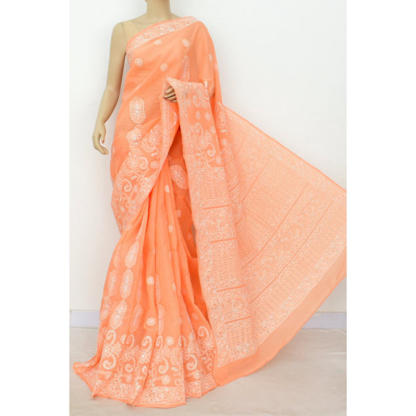 Cotton Lucknowi Chikankari Saree (LCK4803)