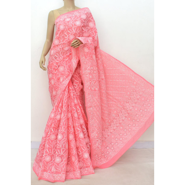 Cotton Lucknowi Chikankari Saree (LCK4854)