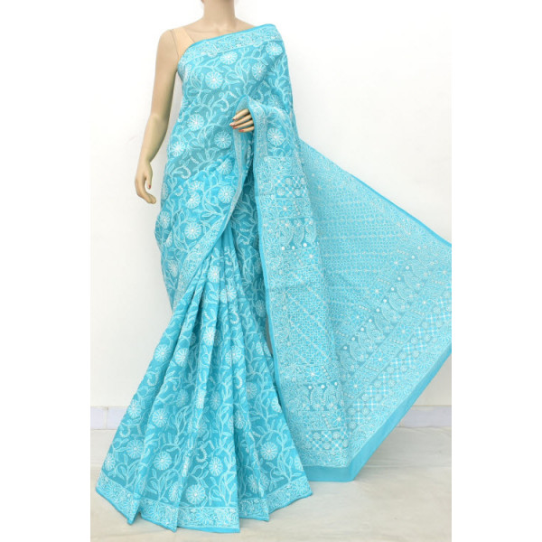Cotton Lucknowi Chikankari Saree (LCK4855)