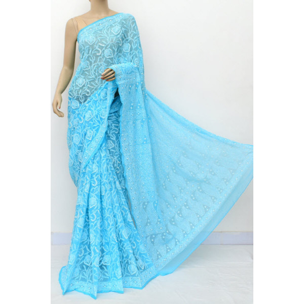 Faux Georgette Lucknowi Chikankari Saree with Allover Embroidery (LCK4872)
