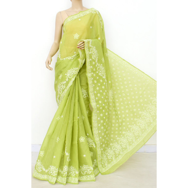 Cotton Lucknowi Chikankari Saree (LCK4896)