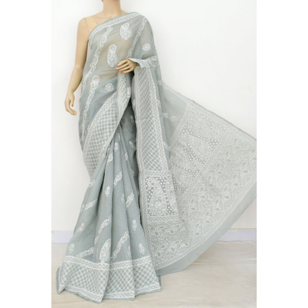 Cotton Lucknowi Chikankari Saree (LCK4926)