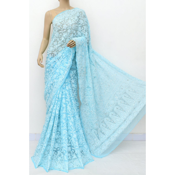 Faux Georgette Lucknowi Chikankari Saree with Allover Mukaish Work (LCK4964)
