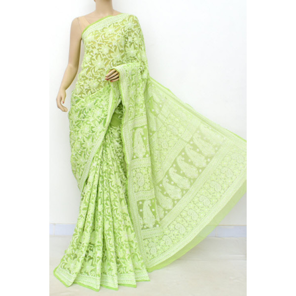 Faux Georgette Lucknowi Chikankari Saree with Allover Embroidery (LCK4989)