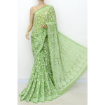 Faux Georgette Lucknowi Chikankari Saree with Allover Embroidery (LCK4998)