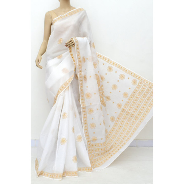 Cotton Lucknowi Chikankari Saree (LCK5010)