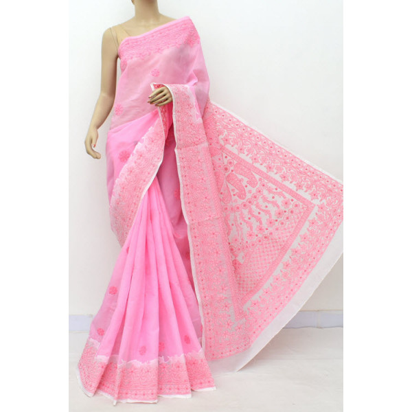Cotton Lucknowi Chikankari Saree with Daraz Work (LCK5017)